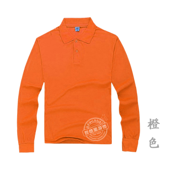 Men's Cotton Long Sleeve Turn-Down Collar Polo Shirt (Orange)