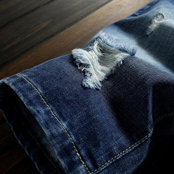 Men's Denim Hole Middle Pants Frayed Fifth Jeans Breeches Jeans Pirate Shorts For Men Hot Pants - intl - 4