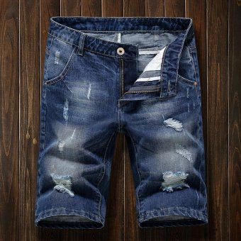 Men's Denim Hole Middle Pants Frayed Fifth Jeans Breeches Jeans Pirate Shorts For Men Hot Pants - intl