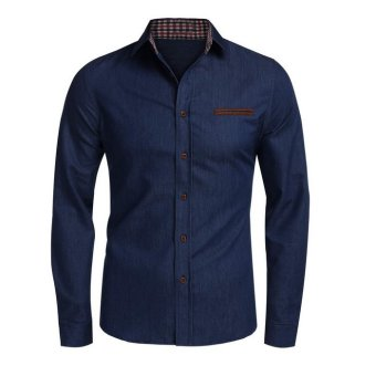 Men's fashion long-sleeved shirt Korean Slim solid color denim shirt dark blue