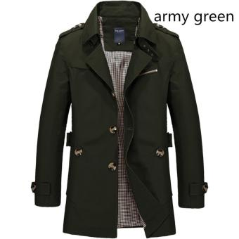 Men's Fashion New Winter Jeep Casual Jacket Long Paragraph Cotton Washed Large Code Coat (Army Green) - intl