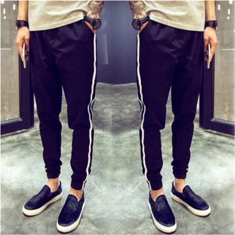 Men's Fashion Sport Running Jogger Long Baggy Pants Casual Trousers Harem Gym Sweatpants Black - intl
