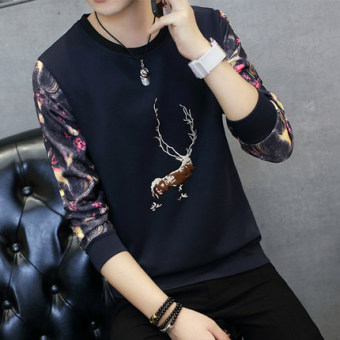 Men's Fashionable Slim Fit Long Sleeve Round Neck Shirt (Embroidered deer dark blue)