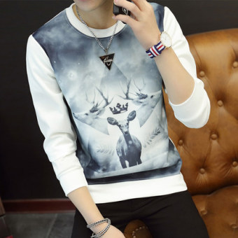 Men's Fashionable Slim Fit Long Sleeve Round Neck Shirt (Three head deer white)