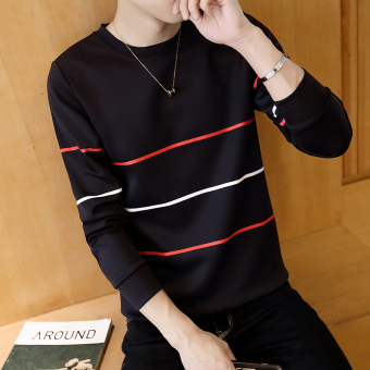 Men's Fashionable Slim Fit Round Neck Long Sleeve Shirt (Three bar black)