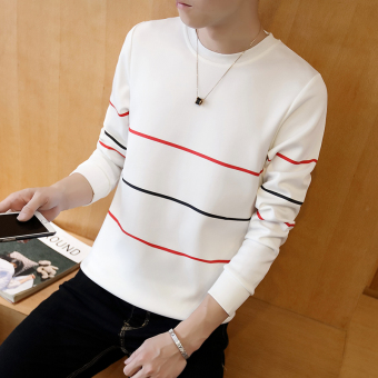 Men's Fashionable Slim Fit Round Neck Long Sleeve Shirt (Three bar white)