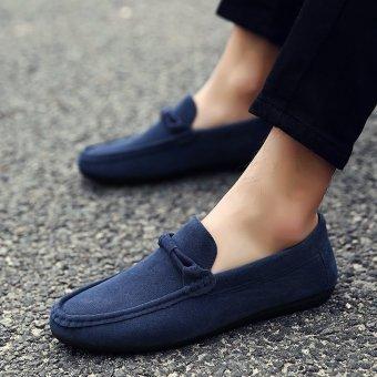Men's Flock Light Driving Shoes Comfortable Loafer Shoes Blue - INTL ...