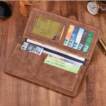 Men's High Quality Long Wallet Retro Leather Business Purse Folded Leisure Handbag Large Capability Phone Bag (Coffee) - intl