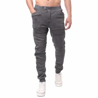 Men's Jogger Dance Sportwear Baggy Harem Pants Slacks Trousers Sweatpants (Dark Gray)-Intl