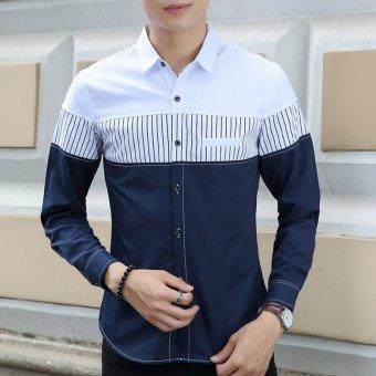 Men's Korean Long Sleeve Cotton?outdoor Casual Button-Down Shirts White - 2
