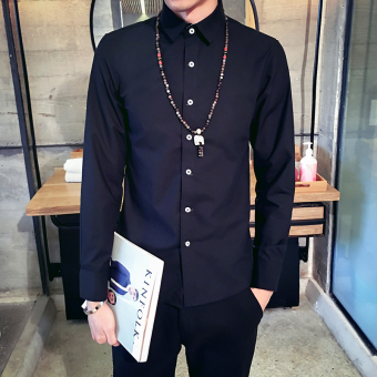 Men's Korean-style All-Match Large Size Long Sleeve Thin Shirt (Black)