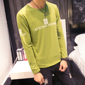Men's Korean-style All-Match Large Size Long Sleeve Thin Shirt (T38 long-sleeved-flourescent green)