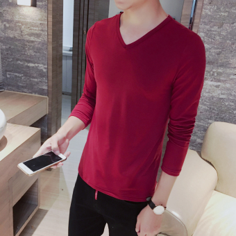 Men's Korean-style All-Match Large Size Long Sleeve Thin Shirt (V-neck long-sleeved-wine red color)