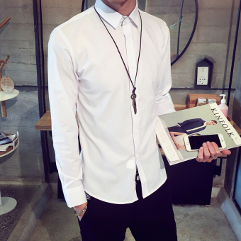 Men's Korean-style All-Match Large Size Long Sleeve Thin Shirt (White)