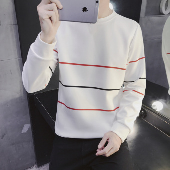 Men's Korean-style Bottom T-Shirt/Hoodie Sweater (Hoodie 30 red stripe-white)
