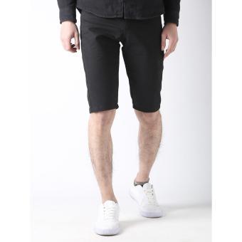 Men's Korean Style Casual Simple Plain Short (Black) - 3