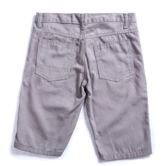 Men's Korean Style Casual Simple Plain Short (Grey) - 2
