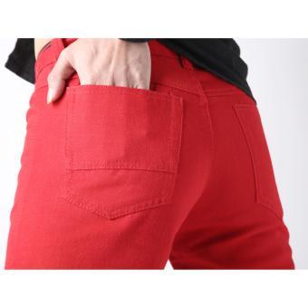 Men's Korean Style Casual Simple Plain Short (RED) - 3