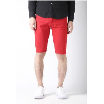 Men's Korean Style Casual Simple Plain Short (RED)