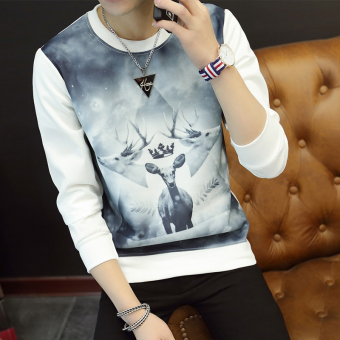 Men's Korean-style Fashionable Slim Fit Long Sleeve Shirt (Three head deer white)
