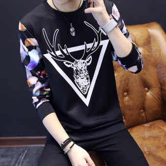 Men's Korean-style Fashionable Slim Fit Long Sleeve Shirt (Triangle deer black)