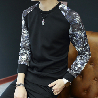 Men's Korean-style Fashionable Slim Fit Long Sleeve Shirt (W36 black)