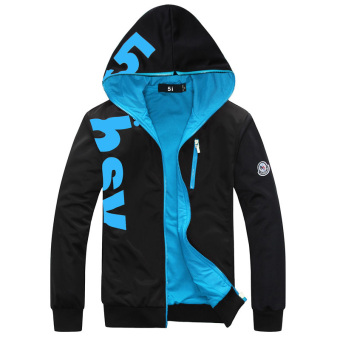Men's Korean-style Large Size Fleece-Lined Hoodie Sweater (Blue thin)