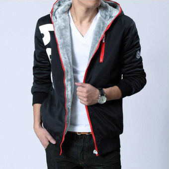 Men's Korean-style Large Size Fleece-Lined Hoodie Sweater (Red Plus velvet Models)