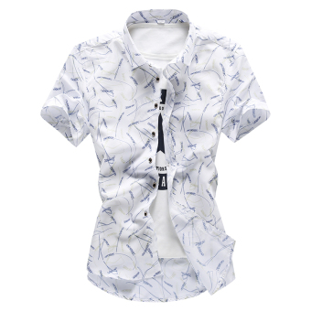 Men's Korean-style Leisure Slim Fit Large Size Short Sleeve Thin Shirt (White Rice (short sleeved))