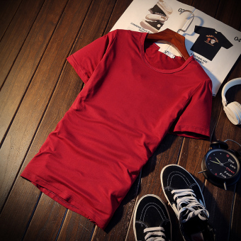 Men's Korean-style Round Neck Short Sleeve Black/White Solid Color T-Shirt (Round neck-wine red color)