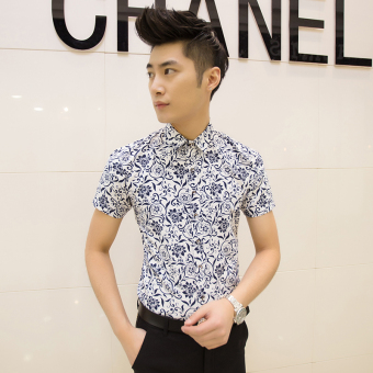 Men's Korean-style Slim Fit Floral Print Short Sleeve Thin Shirt (D02Bai)