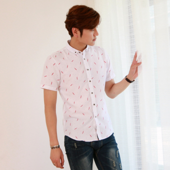 Men's Korean-style Slim Fit Floral Print Short Sleeve Thin Shirt (D28Bai)