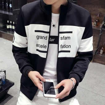 Men's Korean-style Slim Fit Leisure Cardigan Sweater (Stripe-black)