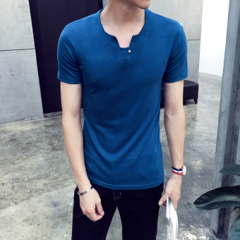 Men's Korean-style Slim Fit V-Neck Button Short Sleeve T-Shirt (Peacock blue)