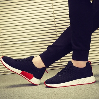 Men's Korean-style Sport Canvas Fleece-Lined Cotton Shoe (Black)