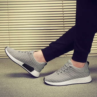 Men's Korean-style Sport Canvas Fleece-Lined Cotton Shoe (Gray)