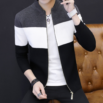 Men's Korean-style Striped Knitted Cardigan Jacket (Gray)