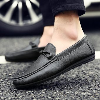 Men's Leather British style Loafer Shoes Korean Driving Shoes Black - INTL