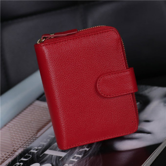 Men's leather driver's license Leather cover New style women's wallet (Red)