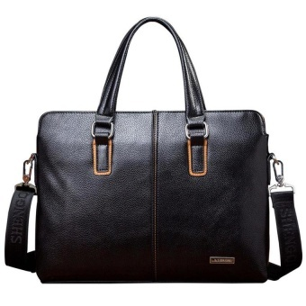 Men's Leather Handbag Business Bag Laptop Tote Crossbody Briefcas(Black)