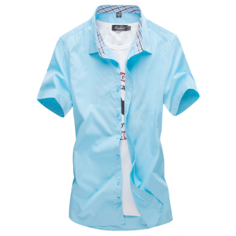 Men's Leisure Large Size Short Sleeve Thin Shirt (Light Green)