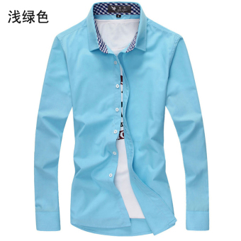 Men's Leisure Large Size Short Sleeve Thin Shirt (Long-sleeved light green)