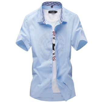Men's Leisure Large Size Short Sleeve Thin Shirt (Sky blue color)