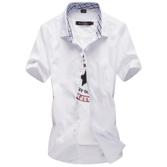 Men's Leisure Large Size Short Sleeve Thin Shirt (White)