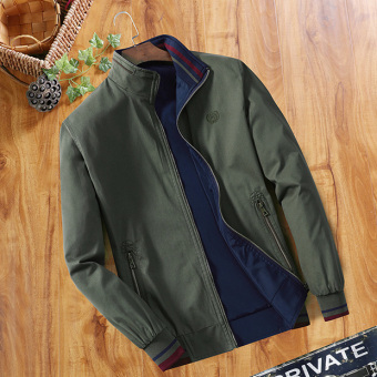 Men's Loose Thin Reversible 100% Cotton Jacket (Dark green)