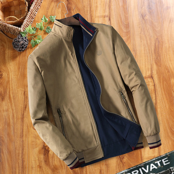 Men's Loose Thin Reversible 100% Cotton Jacket (Deep Khaki)