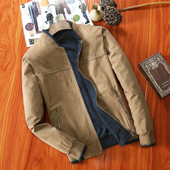 Men's Loose Thin Reversible 100% Cotton Jacket (Deep khaki color)