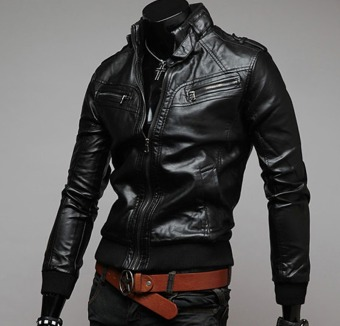 Men's new fashion slim Long-Sleeved motor leather jacket pure color(BLACK) - intl