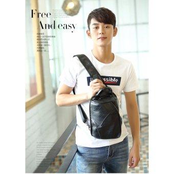 Men's PU Leather Vintage Chest Bag Fashion Crossbody Bag for Men Waterproof Sling Cross Body Bags Shoulder Bags Back Pack - intl - 3