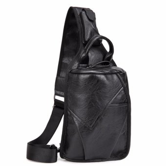 Men's PU Leather Vintage Chest Bag Fashion Crossbody Bag for Men Waterproof Sling Cross Body Bags Shoulder Bags Back Pack - intl
